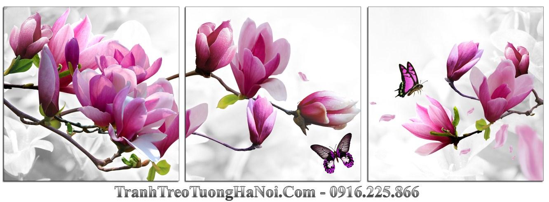 Tranh treo tuong 3D moc lan hoa buom trang tri phong khach phong ngu amia 1423