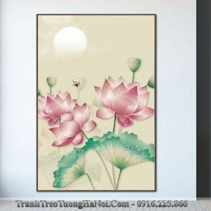 Tranh treo tuong hoa sen canvas duoi trang amia sen 127