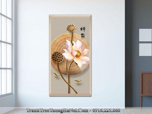 Tranh trong dong va hoa sen canvas kho dung amia sen 134