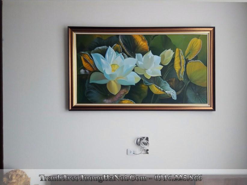 Tranh ve hoa sen son dau tsd 522 treo phong khach chu nha tuoi at suu 1985