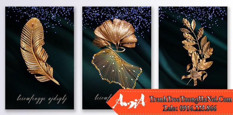 Bo 3 tranh canvas chiec la vang dong amia cv249