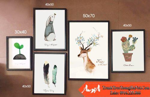 Bo tranh canvas 5 tam bac au dong vat nhiet doi amia 1558