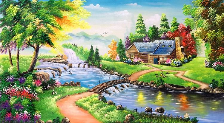 bức tranh phong cảnh châu âu đẹp thanh bình tsd 123