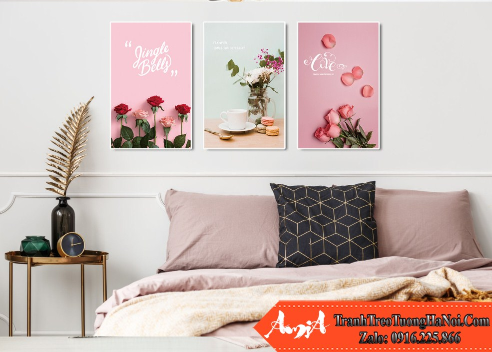 Mau tranh canvas hoa hong dep