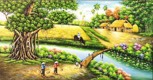 mẫu tranh phong cảnh quê hương tsd 517