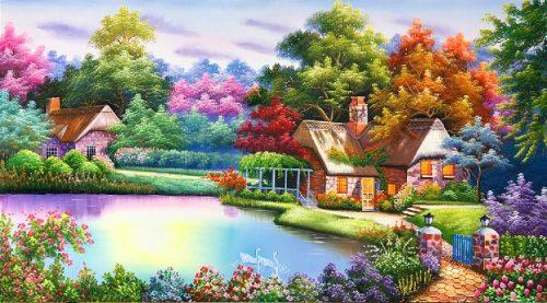 mẫu tranh sơn dầu đẹp ngôi nhà châu âu tsd 342