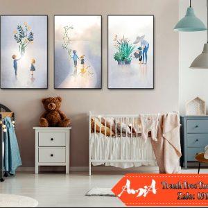 tranh canvas treo phòng bé gái tuổi thơ