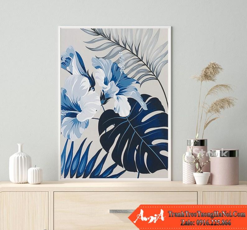 Tranh chiec la hoa dam but mau xanh canvas amia cv262