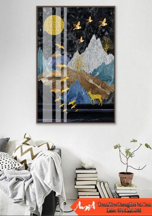 tranh đàn chim vàng in canvas nghệ thuật amia cv244