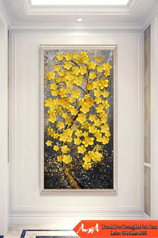 tranh hoa mai vàng kiểu đứng sang trọng amia cv228