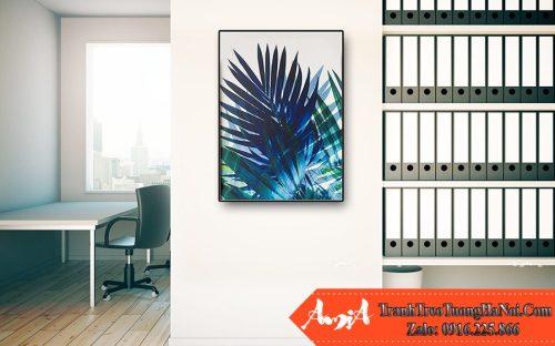 tranh lá cây xanh biếc nghệ thuật Amia CV263