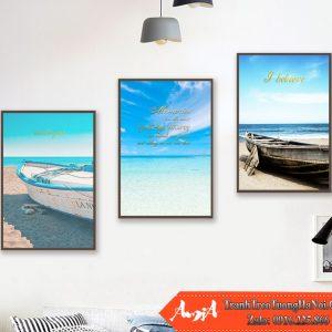 Tranh treo tuong dep canvas bien xanh amia cv456