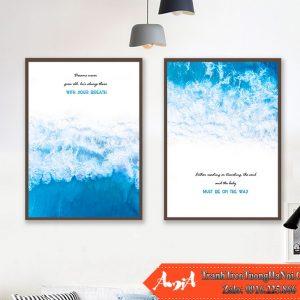 Tranh hai tam bien xanh canvas amia cv464