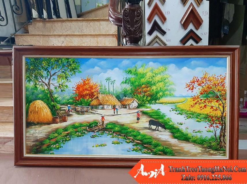 Buc tranh ve phong canh lang que moc mac binh di amia tsd 532
