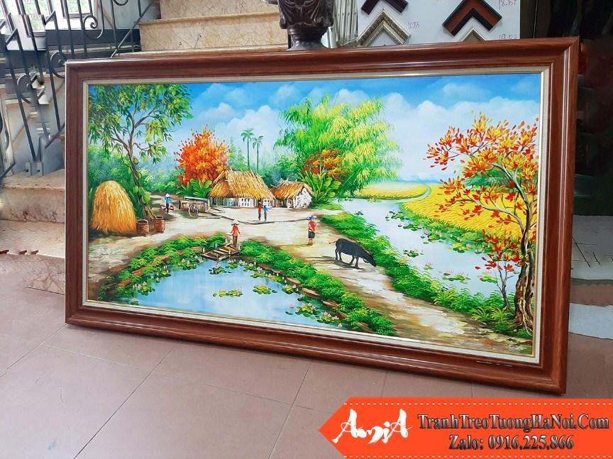 Buc tranh ve phong canh nong thon lang que tai cua hang amia tsd 532