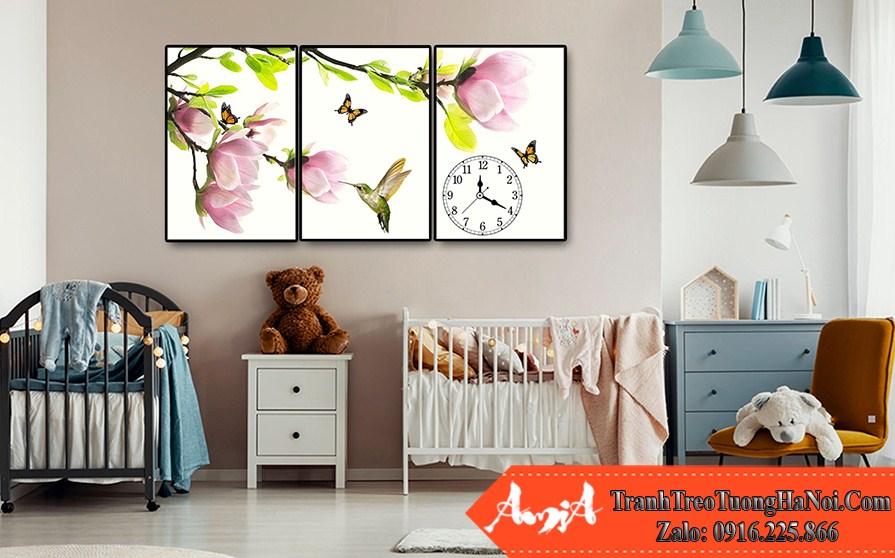 bo tranh canvas treo phong tre em hoa la