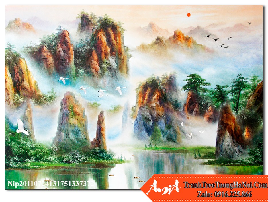Tranh phong thuy song nui trung quoc ve son dau dep