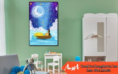 tranh canvas con thuyền ánh trăng amia te208
