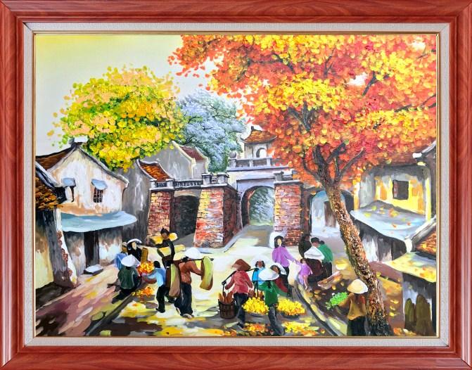 tranh họp chợ trên phố Hà Nội xưa amia tsd 465