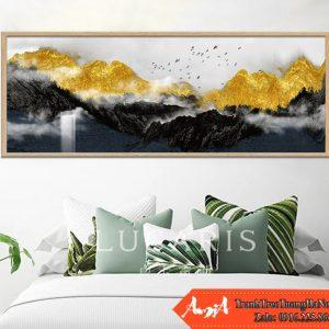 Tranh núi vàng canvas kiểu ngang treo phong khach phong ngu