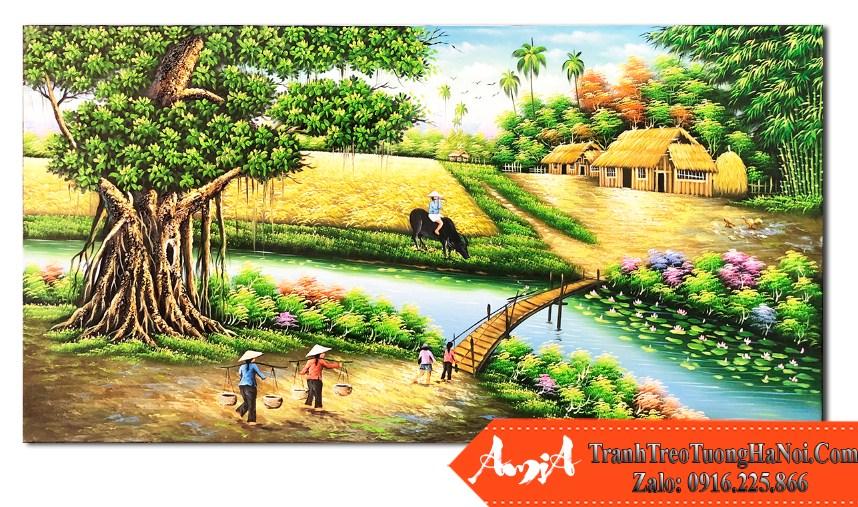 Tranh phong canh nong thon viet nam son dau amia tsd 517