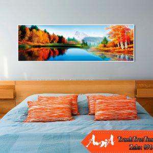 Tranh phòng ngủ mua thu canvas kieu ngang amia cv256