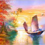Tranh thuyền buom xuoi gio dep nhat hop phong thuy