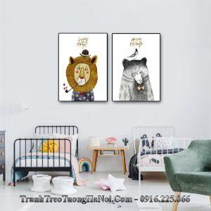 tranh in canvas 2 tấm hiện đại cho em bé amia te228