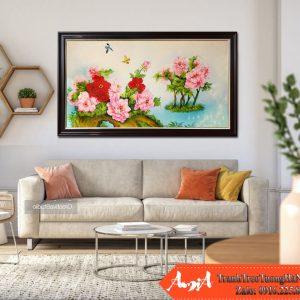 tranh son dau hoa mau don treo tuong tsd 194
