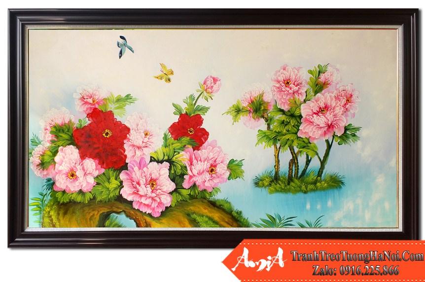 Tranh ve hoa mau don kho lon treo tuong tsd 194