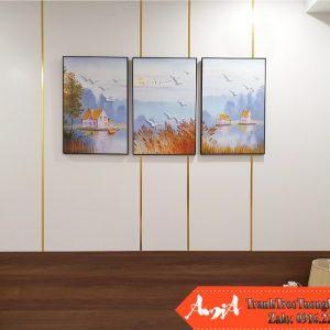 Tranh treo dau giuong phong ngu chung cu canvas 3D Amia 1624