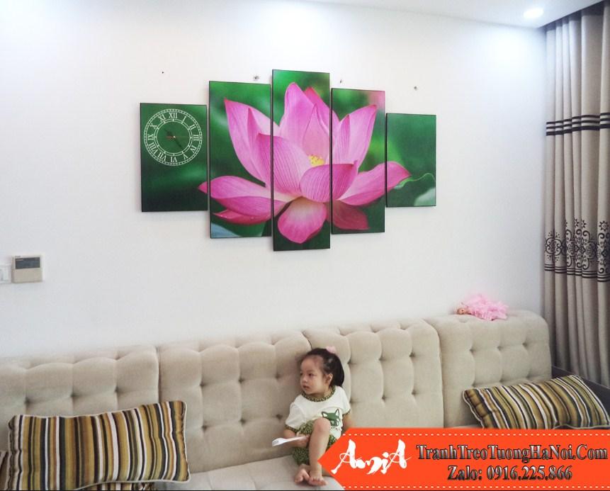 Tranh treo phong khach chung cu hoa sen 5 tam amia 936 937