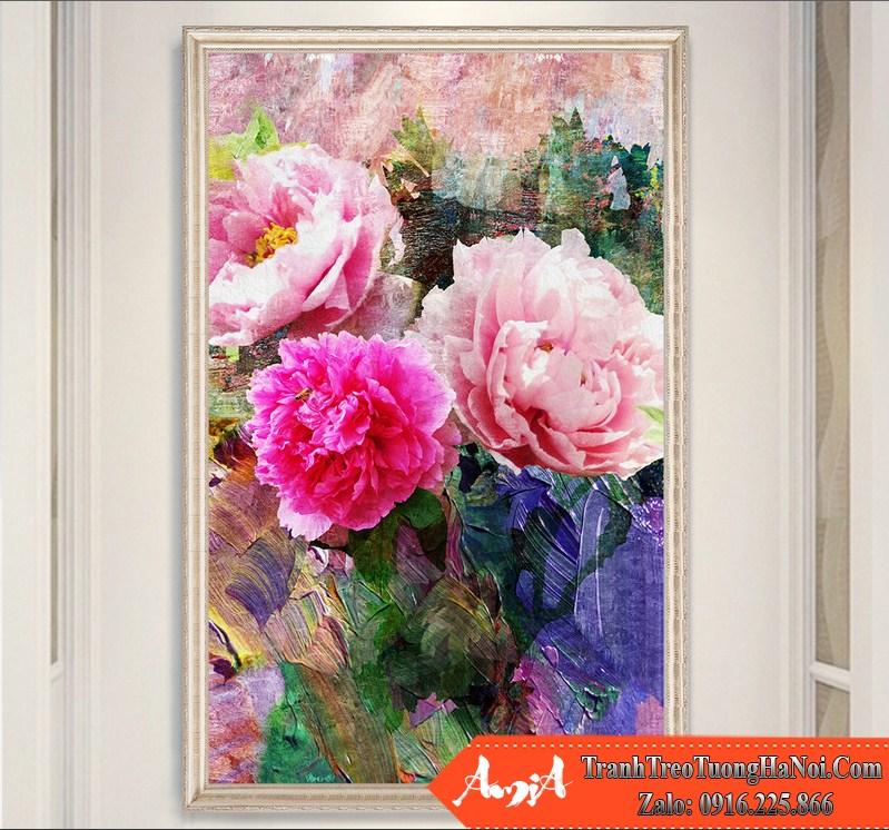 Tranh hoa mau don mau hong kho dung dep amia hmd112