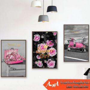 Tranh hoa hong vespa vali hong canvas amia cv448