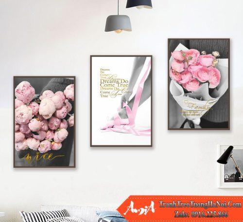 Tranh hoa hong phap treo tuong canvas bac au amia cv449