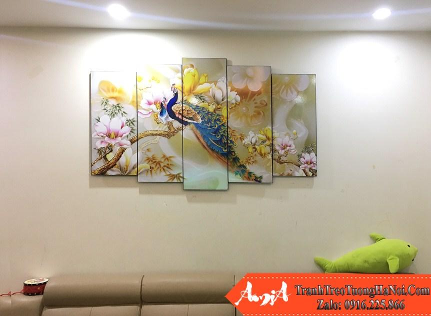 Tranh chim cong 3D treo tuong phong khach nha pho amia 1414