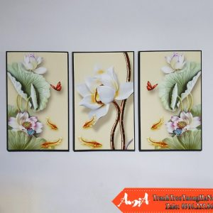 Tranh hoa sen 3D amia 1726 treo tuong phong khach dep