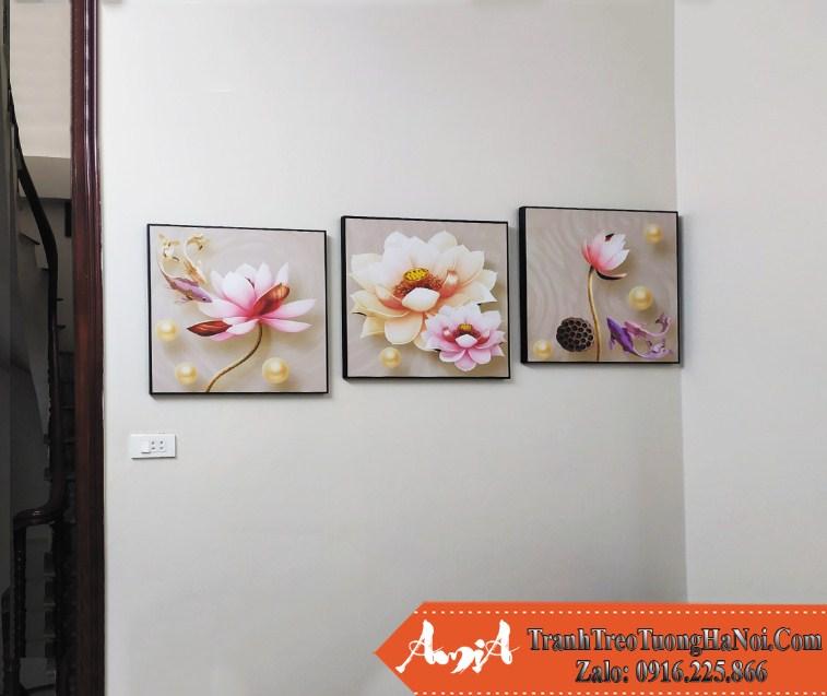 Tranh hoa sen 3D treo tuong dep y nghia amia 1709