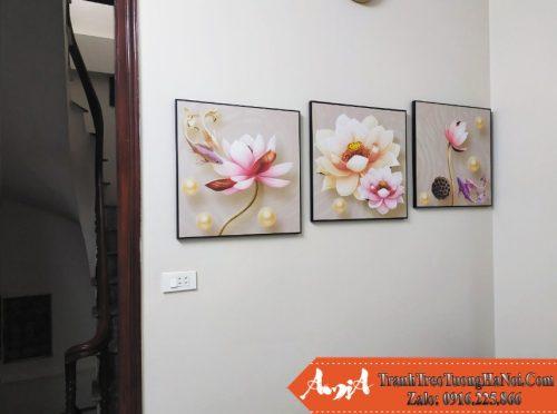 Tranh treo phong khach nha pho hoa sen 3D amia 1709