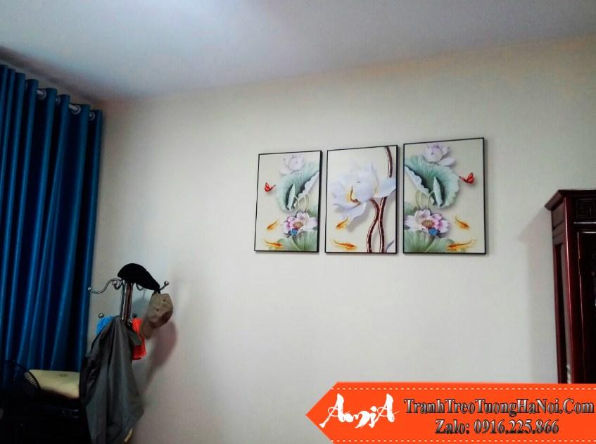Tranh treo phong ngu amia 1726 hoa sen 3D