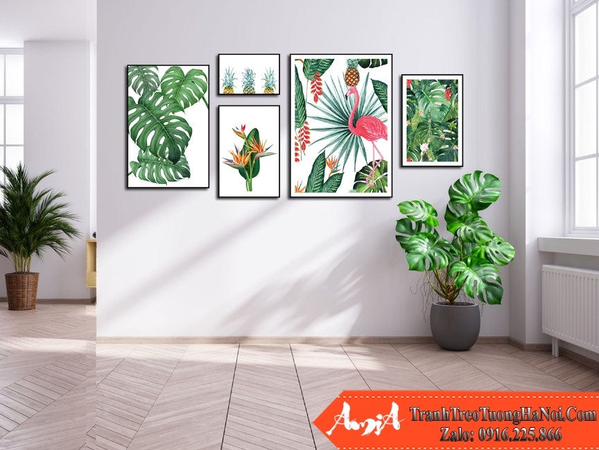 Bo tranh tropical hoa la chim muong nhiet doi 5 tam canvas amia 1782