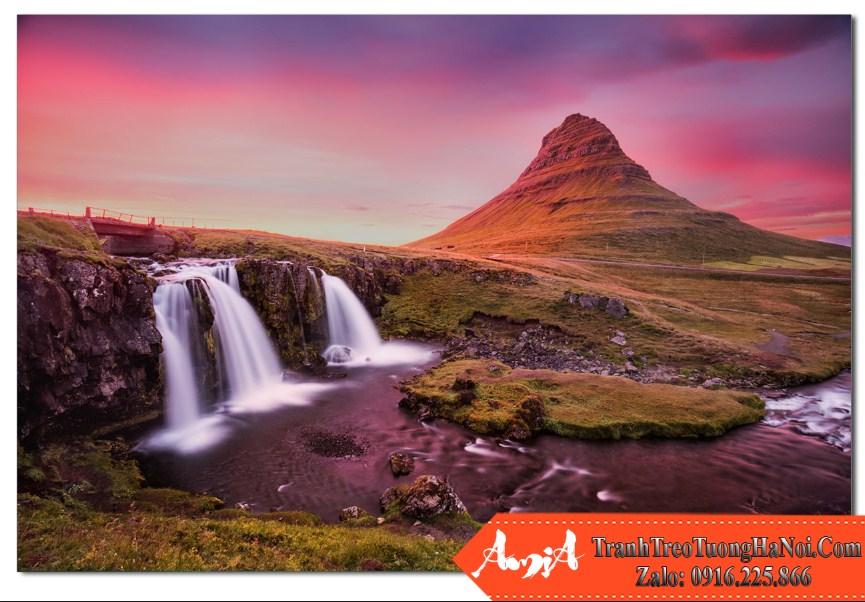 Tranh phong canh thac nuoc va nui Kirkjufell Iceland Amia TN168
