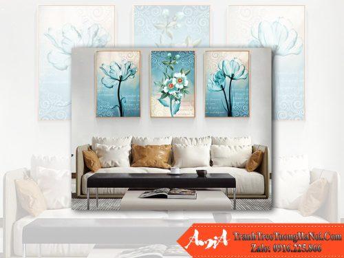Tranh phong ngu bo hoa mau xanh diu nhe 3 tam AmiA 1849