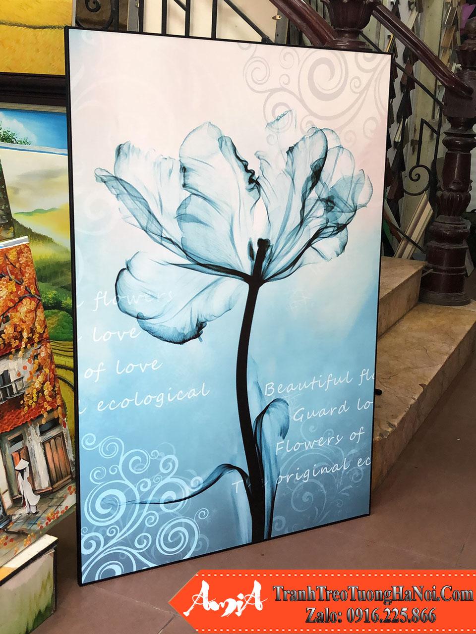 Tranh treo tuong kho lon 1 tam hoa canvas mau xanh amia 1849