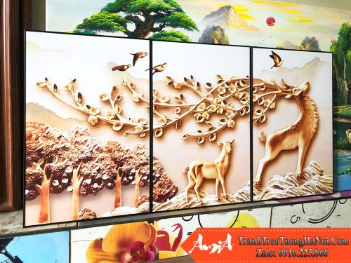 Tranh ghep 3 tam huou vang canvas amia 1853