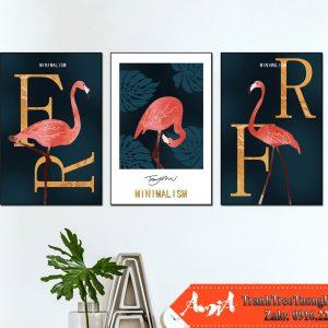 Tranh flamingo 3 tam phong cach bac au treo tuong amia 1864