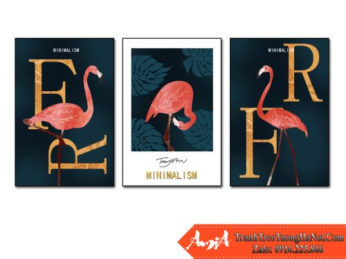 Tranh ghep 3 tam chim hong hac flamingo amia 1864